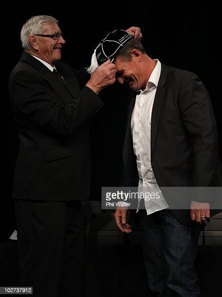 All Black John Kirwan is capped by NZRU President John Sturgeon during the New Zealand All Blacks Test Capping Ceremony at the SkyCity Convention...