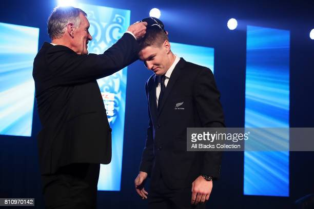 All Black Jordie Barrett is capped for his debut during the Lions tour by NZR President Maurice Trapp at the NZRU Post Match Function at Sky City...