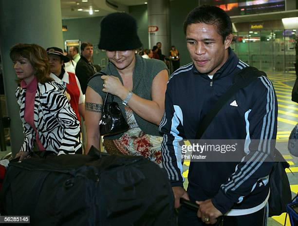 All Black Keven Mealamu arrives home from the All Blacks end of year tour to the UK at the Auckland International Airport on November 29 2005 in...