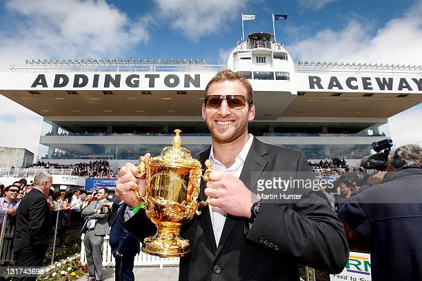 All Black Kieran Read holds the Webb Ellis Cup during NZ Trotting Cup Day at Addington Raceway on November 8 2011 in Christchurch New Zealand