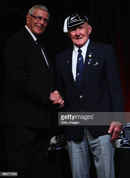All Black Maurice McHugh is capped by NZRU President John Sturgeon during the New Zealand All Blacks Test Capping Ceremony at SkyCity Convention...