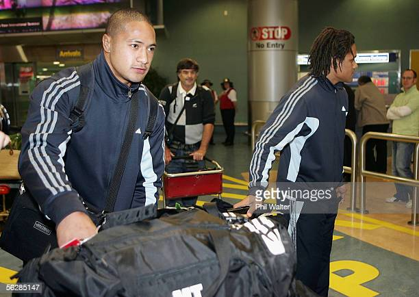 All Black Mose Tuiali'i and Rodney So'oialo arrive home from the All Blacks end of year tour to the UK at the Auckland International Airport on...