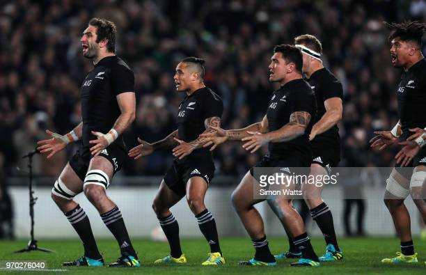 All Black players perform the haka during the International Test match between the New Zealand All Blacks and France at Eden Park on June 9 2018 in...