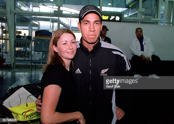 All Black Regan King with Lindie Donaldson after arriving back at the Auckland International Airport as the All Blacks arrive home from their end of...