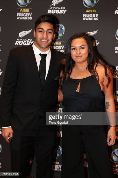 All Black Rieko Ioane and partner Dione IusitiniCook during the ASB Rugby Awards 2018 at Sky City on December 14 2017 in Auckland New Zealand