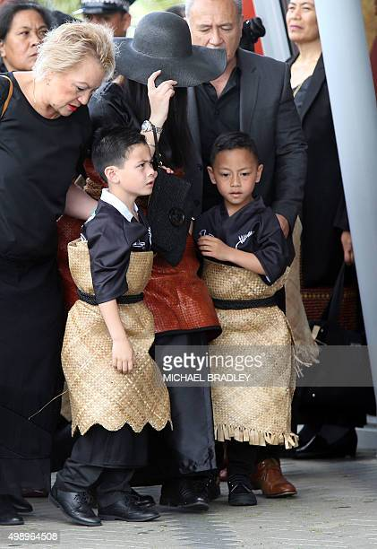 All Black rugby legend Jonah Lomu's wife Nadene Quirk and two children Brayley and Dhyreille arrive at the Jonah Lomu Aho Faka Famili a unique...
