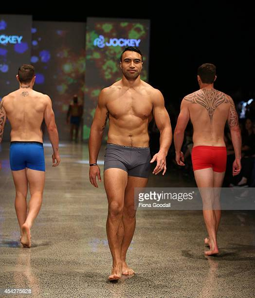 All Black rugby player Victor Vito showcases designs by Jockey in the Resene Designer Selection Show by Woman's Day at New Zealand Fashion Week 2014...