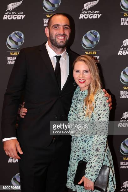 All Black Sam Whitelock and wife Hannah during the ASB Rugby Awards 2018 at Sky City on December 14 2017 in Auckland New Zealand