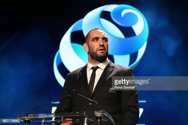 All Black Sam Whitelock presents an award during the ASB Rugby Awards 2018 at Sky City on December 14 2017 in Auckland New Zealand