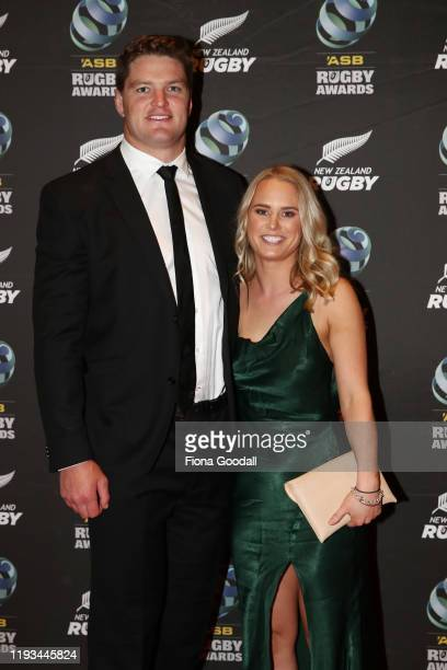 All Black Scott Barrett and his partner Hannah MCCulloch arrive at the New Zealand Rugby Awards at the Sky City Convention Centre on December 12 2019...