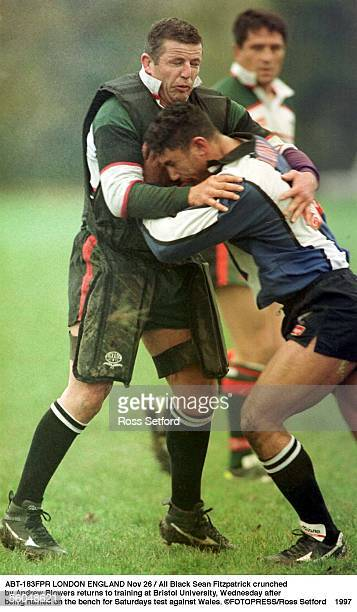 All Black Sean Fitzpatrick crunched by Andrew Blowers returns to training at Bristol University Wednesday after being named on the bench for...