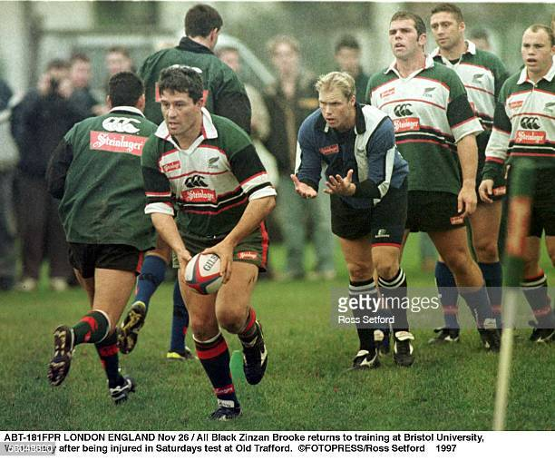 All Black Zinzan Brooke returns to training at Bristol University Wednesday after being injured in Saturdays test at Old Trafford