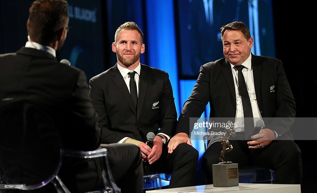 All Blacks captain Kieran Read (L) coach Steve Hansen (R) recieve the award on behalf of the All Blacks after they win adidas Team of the Year at the ASB New Zealand Rugby Awards at SkyCity Convention Centre on December 15, 2016 in Auckland, New Zealand.