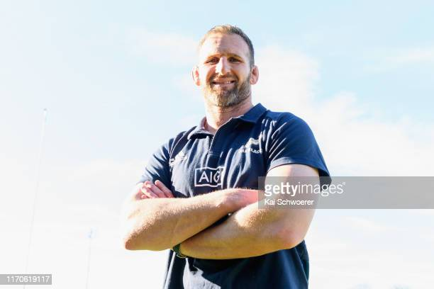 All Blacks captain Kieran Read poses following an All Blacks media opportunity at Rugby Park on August 28, 2019 in Christchurch, New Zealand.
