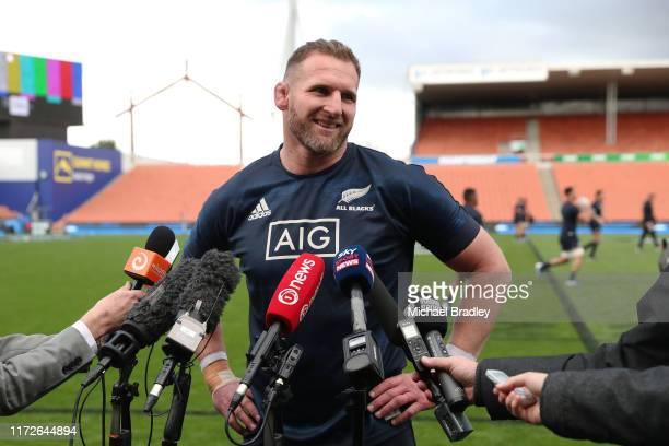 All Blacks captain Kieran Read speaks to the media during a New Zealand All Blacks Captain's Run at Waikato Stadium on September 06, 2019 in...