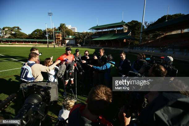 All Blacks captain Kieran Read speaks to the media during the New Zealand All Blacks captain's run at North Sydney Oval on August 18 2017 in Sydney...