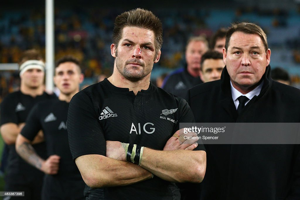 All Blacks captain Richie McCaw and All Blacks coach Steve Hansen look dejected after losing the Rugby Championship match between the Australia Wallabies and the New Zealand All Blacks at ANZ Stadium on August 8, 2015 in Sydney, Australia.