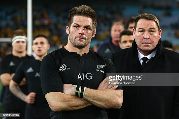 All Blacks captain Richie McCaw and All Blacks coach Steve Hansen look dejected after losing the Rugby Championship match between the Australia...