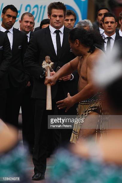 All Blacks captain Richie McCaw is challenged by a traditional Maori warrior during the official IRB Rugby World Cup 2011 New Zealand All Blacks team...