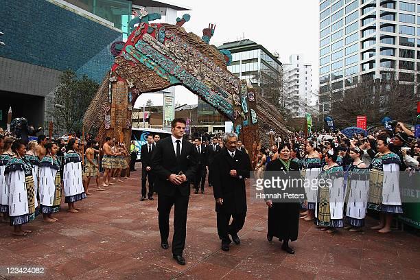 All Blacks captain Richie McCaw leads the team during the official IRB Rugby World Cup 2011 New Zealand All Blacks team welcome ceremony at Aotea...