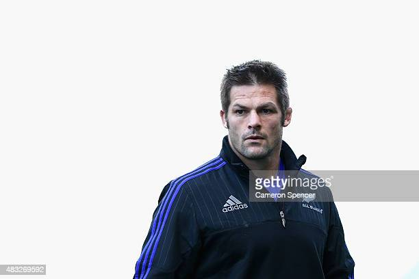All Blacks captain Richie McCaw looks on during the All Blacks captain's run at ANZ Stadium on August 7 2015 in Sydney Australia