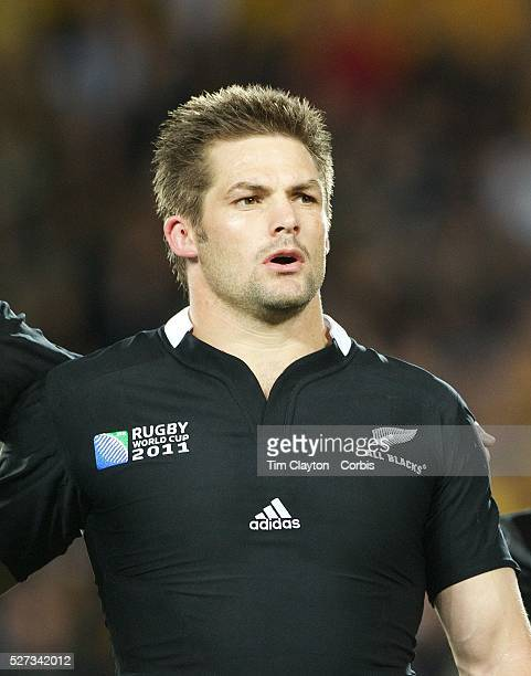 All Blacks captain Richie McCaw New Zealand during the national anthems before the New Zealand V Australia Semi Final match at the IRB Rugby World...