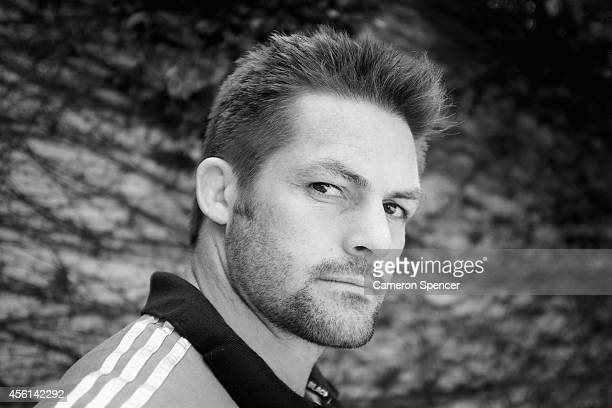 All Blacks captain Richie McCaw poses during a New Zealand All Blacks media session at Hotel Emperador on September 26 2014 in Buenos Aires Argentina