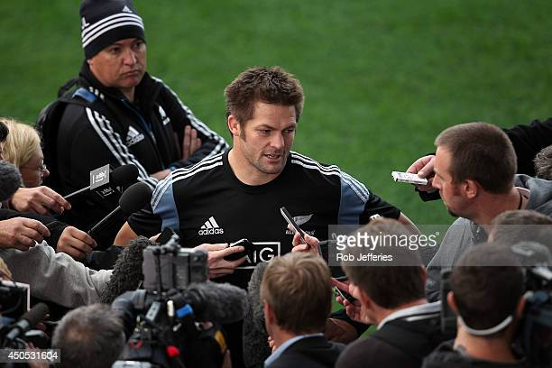 All Blacks captain Richie McCaw talks to media during the New Zealand All Blacks captain's run at Forsyth Barr Stadium on June 13, 2014 in Dunedin,...