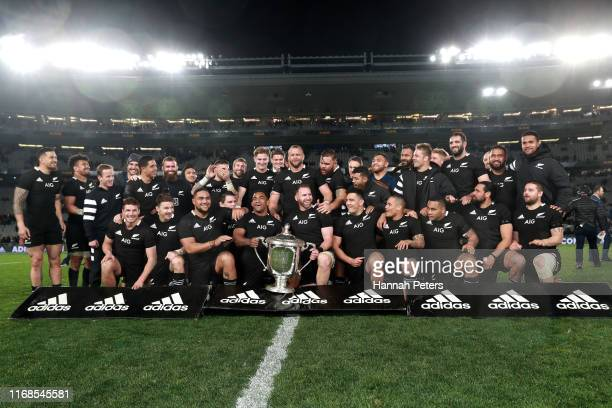 All Blacks celebrate with the Bledisloe Cup following The Rugby Championship and Bledisloe Cup Test match between the New Zealand All Blacks and the...