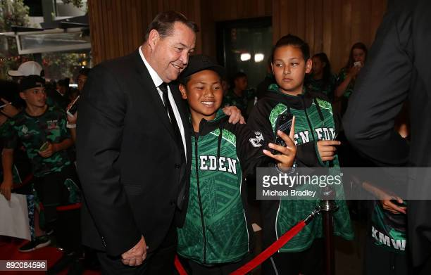 All Blacks coach Steve Hansen greets fans during the ASB Rugby Awards 2018 at Sky City on December 14 2017 in Auckland New Zealand