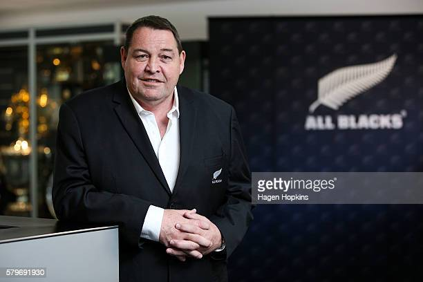 All Blacks coach Steve Hansen poses after announcing his reappointment during a New Zealand Rugby press conference at NZ Rugby House on July 25, 2016...