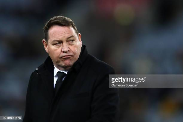 All Blacks coach Steve Hansen watches his players warm up during The Rugby Championship Bledisloe Cup match between the Australian Wallabies and the...