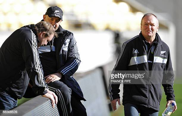 All Blacks coahc Graham Henry chats with assistant coach Steven Hansen during a training session at the Westpac Stadium in Wellington on June 19 2009...