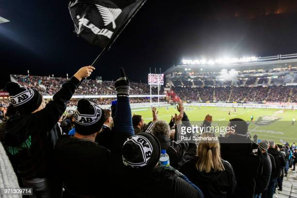 All Blacks fans cheer during the International Test match between the New Zealand All Blacks and France at Eden Park on June 9 2018 in Auckland New...