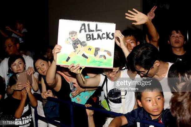 All Blacks fans wait for the team to arrive at their hotel on September 09, 2019 in Kashiwa, Chiba, Japan.