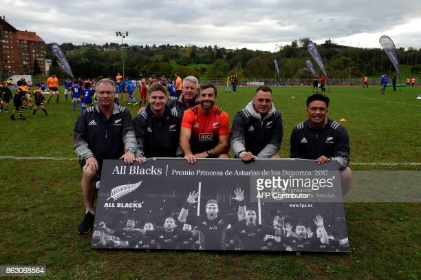 All Black's former player Grant Fox player Jordie Barrett manager Steve Tew and players Conrad Smith Israel Dagg and Keven Mealamu 2017 Princess of...