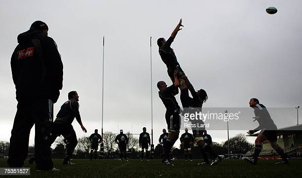 All Blacks forwards coach Steve Hansen watches lineout drills during a New Zealand All Blacks training session at Rugby Park on July 11 2007 in...