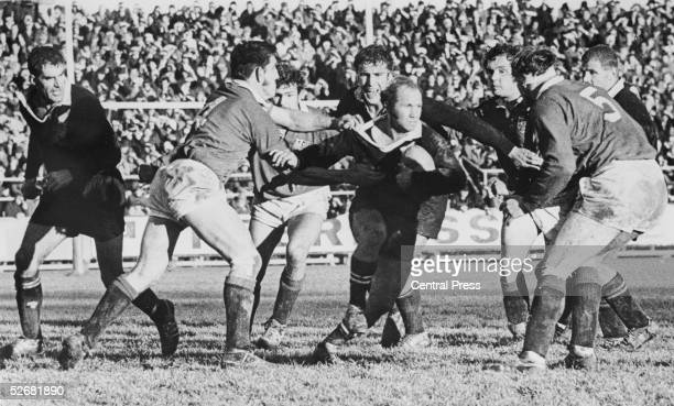 All Blacks halfback Sid Going is about to be 'wrapped up' by Lions winger John Bevan and lock forward Willie John McBride during the British Lions V...