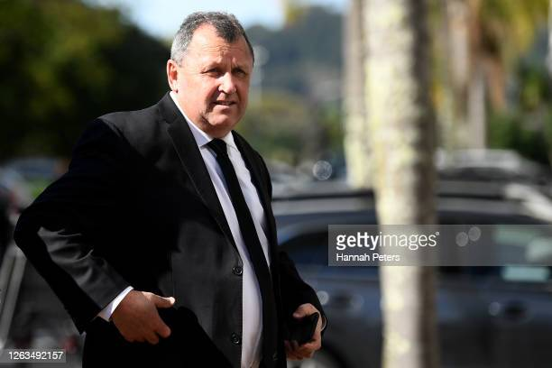 All Blacks head coach Ian Foster attends the funeral service for Andy Haden at Eden Park on August 03 2020 in Auckland New Zealand Haden died last...