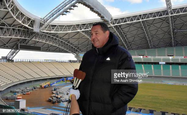 All Blacks head coach Steve Hansen speaks to media reporters as he inspects the Oita Bank Dome on January 30 2018 in Oita Japan