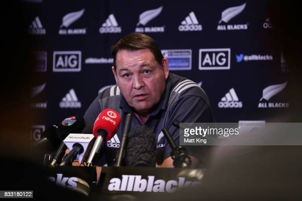All Blacks head coach Steve Hansen speaks to the media during a New Zealand All Blacks press conference at The Intercontinental on August 17, 2017 in...