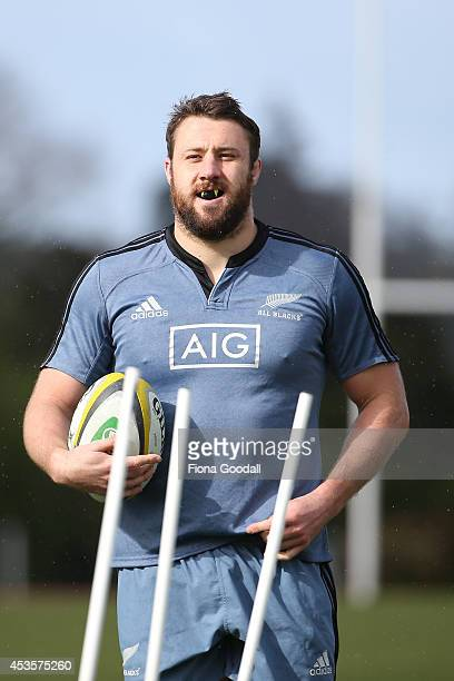 All Blacks Jeremy Thrush in action during a New Zealand All Blacks training session at Trusts Stadium at Trusts Stadium on August 14 2014 in Auckland...