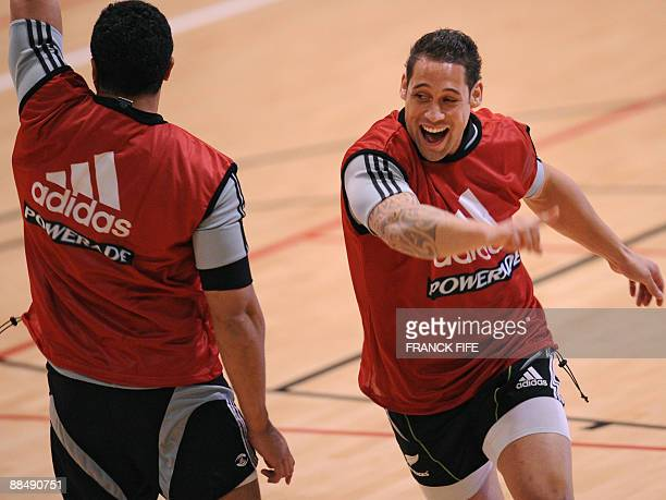 All Blacks Luke Allister reacts during a training session at the Rauparaha Arena in Porirua on June 15 2009 France on 14 June celebrated a rare Test...