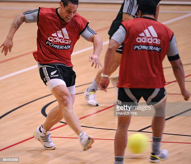 All Blacks Luke Allister runs with a ball during a training session at the Rauparaha Arena in Porirua on June 15 2009 France on 14 June celebrated a...