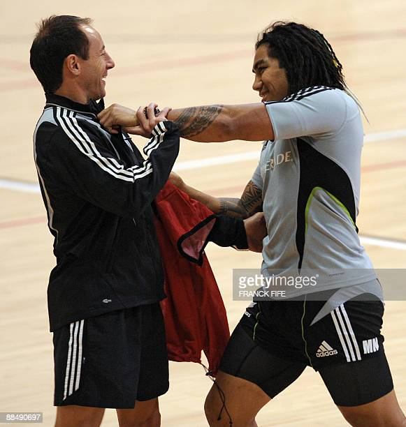 All Blacks Ma'A Nonu jokes with a coach during a training session at the Rauparaha Arena in Porirua on June 15 2009 France on 14 June celebrated a...