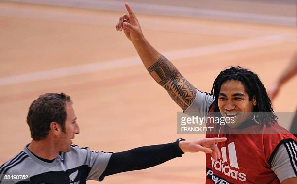 All Blacks midfield back Ma�a Nonu reacts during a training session at the Rauparaha Arena in Porirua on June 15 2009 France on 14 June celebrated a...