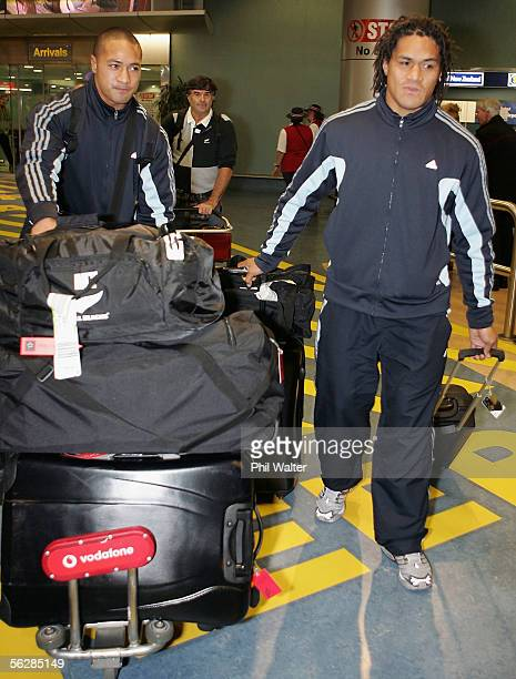 All Blacks Mose Tuiali'i and Rodney So'oialo arrive home from the All Black's end of year tour to the UK at the Auckland International Airport...