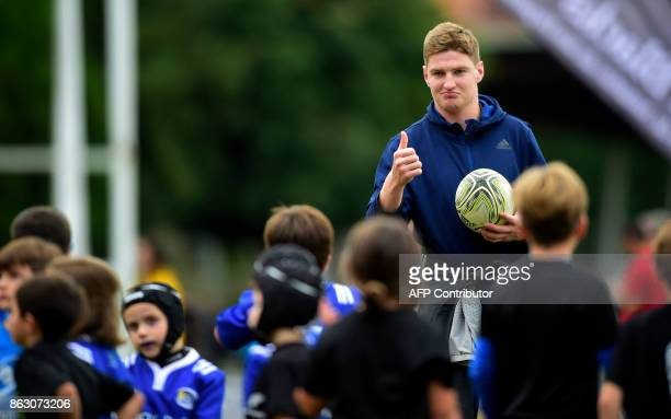 All Black's player Jordie Barrett 2017 Princess of Asturias Award for Sports plays rugby with children at the San Lazaro stadium in Oviedo on October...