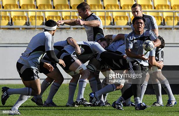 All Blacks player Keven Mealamu clears the ball out of a scrum during a training session at the Westpac Stadium in Wellington on June 19 2009 France...
