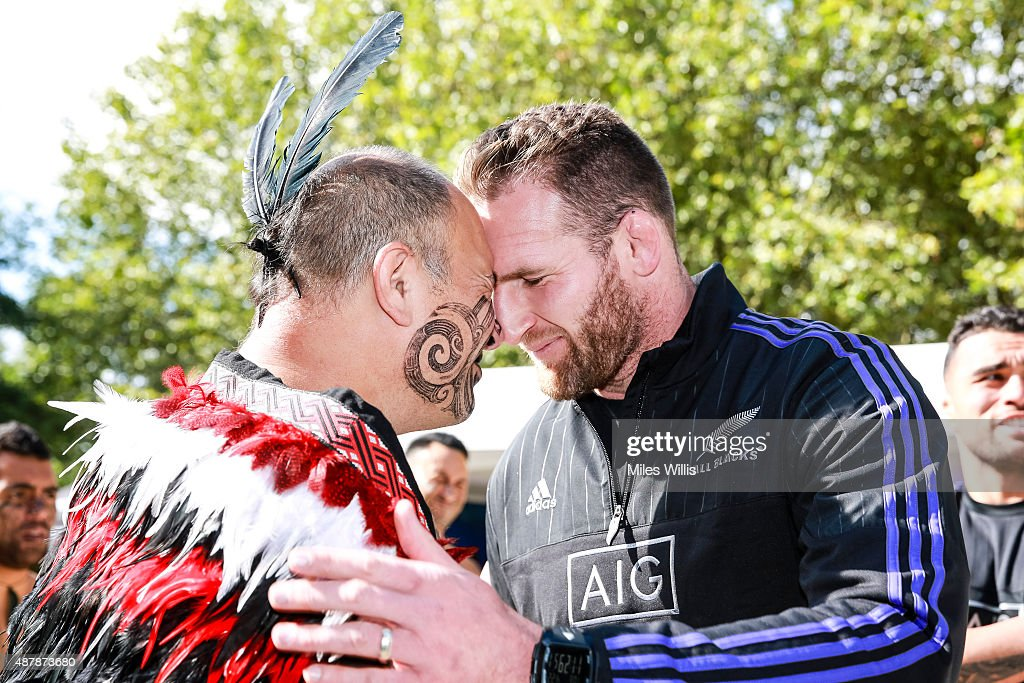 All Blacks player Kieran Read performs a hongi, the traditional Maori greeting at the Haka 360 Experience Launch Event at Oxo Tower Wharf South Wharf on September 12, 2015 in London, England. The Haka 360 Experience is an app which uses 360 degree video technology to give the viewer the feeling of being on the field with the All Blacks and in the midst of the powerful Maori ritual. The app is available via aig.com/haka360, on the App Store and Google Play.